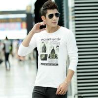 男士长袖T恤纯棉打底衫纯色圆领青年秋衣服白色韩版修身纯黑秋装