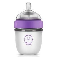 可爱断奶带手柄奶瓶 婴儿硅胶奶瓶全软广宽口径宝宝