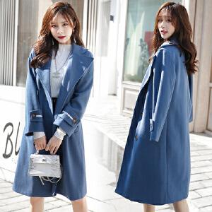 【限时促销!下单立减100!】雾霾蓝大衣女中长款2018韩版冬季新款赫本风学生流行羊毛呢子外套