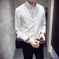衬衫男长袖秋冬季韩版chic潮流修身条纹男士加绒保暖衬衣白色寸衣