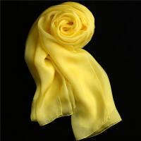 春夏新品丝绸 丝巾女围巾两用纯色百搭韩版 披肩纱巾长款