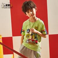 小虎宝儿男童短袖t恤洋气潮2020夏季新款儿童纯棉半袖衫中大童装