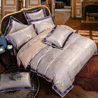伊迪梦家纺 高精密臻丝提花贡缎床上用品 色织提绣宽边床单款欧美式1.8m/2.0米大床四件套六件套RQ6