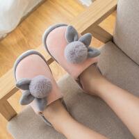 冬天棉拖鞋女室内防滑软底冬季韩版家居家用保暖月子拖鞋可爱毛拖