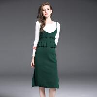连衣裙女2017秋装新款欧美风气质吊带裙时尚针织套装裙两件套包臀