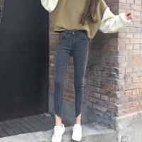 春装韩国不规则撕边水洗做旧九分小脚铅笔裤显瘦高腰牛仔裤女长裤