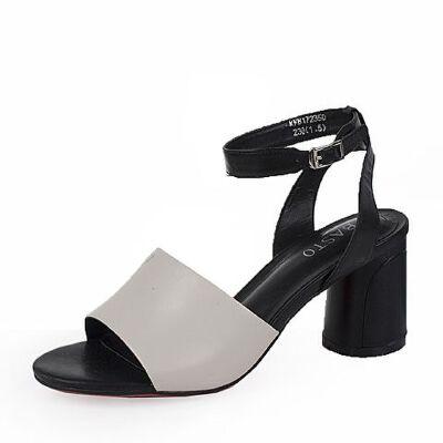BASTO/百思图2017新款夏季/ 黑色羊皮高跟女凉鞋17235BL7