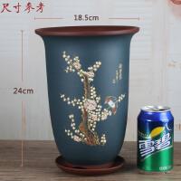 紫砂花盆花瓶原色中型古典兰花盆中国风复古花盆