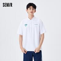 森马短袖T恤男2021夏季新款潮流刺绣个性韩版polo衫翻领设计感潮