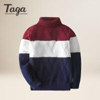 TAGA童装 男童毛衣儿童高领针织衫春秋款中大童圆领套头毛衣