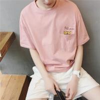 夏季男士短袖t恤韩版潮流港风猫头鹰印花半袖打底衫休闲男生体恤