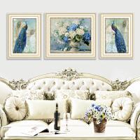 客厅装饰画沙发背景墙挂画欧式美式大气高档三联画壁画孔雀油画SN1556 左右58*78中间88*78 组合