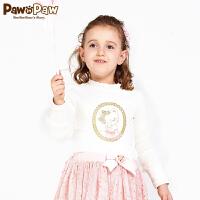 【秒杀价:69元】pawinpaw宝英宝韩国小熊童装冬季款女童公主风休闲T恤