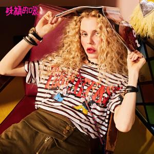 【限时直降:82】妖精的口袋chic上衣新款ins学生条纹圆领短袖t恤女宽松