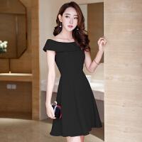 公主式黑色小礼服短款 韩国名媛甜美修身性感聚会宴会姐妹裙