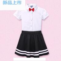 童装女童礼服套装白衬短裙儿童主持人演出套装中大童学生校服