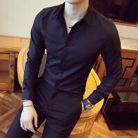 2017新款休闲潮流衬衫衣商务纯色职业衬衣男长袖修身韩版百搭帅气