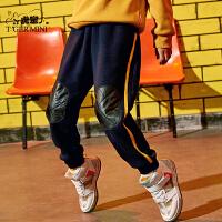 【2件3折到手价:65.7元】小虎宝儿男童裤子运动裤2019秋冬新品儿童保暖加绒哈伦裤中大童潮