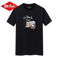 Lee Cooper男短袖韩版潮流时尚t恤纯棉宽松圆领照相机休闲半袖运动风男式t恤