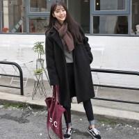 毛呢外套女韩版新款宽松中长款秋冬装小个子学生茧型加厚呢子大衣