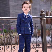 2019 韩版男童小西装套装儿童西服宝宝三件套男孩主持人小孩钢琴演出服