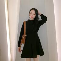 赫本小黑裙法国小众连衣裙收腰法式复古裙a字裙加厚打底裙女春