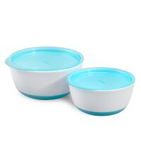 美国进口OXO 宝宝盖碗套装 儿童防漏餐具套装 带盖辅食碗带盖子