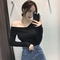 韩风小性感修身长袖针织衫套头上衣交叉V领露肩打底衫女冬季