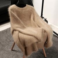 秋冬韩国女装新款仿貂绒圆领毛衣女中长款宽松套头针织打底衫