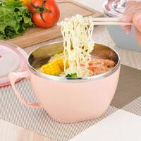 304不锈钢泡面碗带盖学生宿舍食堂韩版饭盒便当盒餐具大汤杯