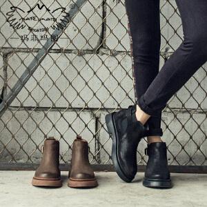 玛菲玛图2019切尔西靴女厚底皮带扣春秋单靴真皮个性设计短靴子复古风马丁靴女5531-8W