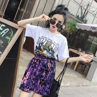 夏装字母卡通印花圆领T恤+彩色亮片高腰短裙半身裙套装女