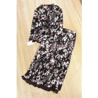B0847新款韩版花色宽松显瘦立领长袖女衬衫半身裙套装两件套