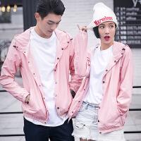 新款秋冬季粉红色长袖夹克衫男女情侣装修身迷彩衣外套学生班服团