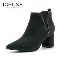 迪芙斯(D:FUSE)冬专柜同款绒面羊皮革松紧带百搭女短靴DF84116027