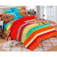 全棉加厚磨毛四件套棉1.8m床上用品婚庆床上4件套 桔红色 摩登密码
