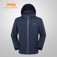【特惠价】Jeep/吉普 男士户外防水防风外套运动登山服软壳衣J732095601