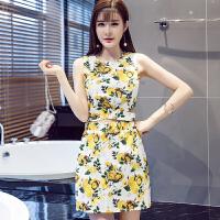 2018夏新款小清新碎花两件套无袖套装裙韩版女装修身显瘦小香风
