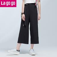 【3折价86.4】Lagogo2017夏季新款时尚高腰裤百搭黑色休闲裤女长裤子雪纺阔腿裤