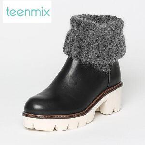 Teenmix/天美意专柜同款牛皮/纺织品女靴6Q870DS6