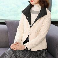 短款羽绒服女韩版2018时尚百搭轻薄修身两面穿白鸭绒保暖外套 两面穿