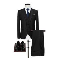 大码商务青年职业正装纯色西服新郎结婚礼服修身男士西装三件套装