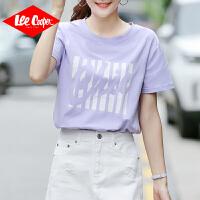 Lee Cooper夏季新款短袖t恤女装宽松半袖上衣撞色字母印花休闲个性女式t恤