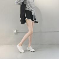休闲运动短裤女夏季宽松撞色打底裤外穿健身跑步热裤chic阔腿裤子