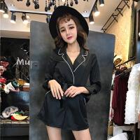 2018春季新款韩版气质时尚撞色翻领系带长袖收腰显瘦连体裤女装潮