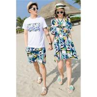 沙滩情侣装夏装三亚旅游衣服蜜月海边度假套装连衣裙大码200斤T恤 女4XL 适合(160-180斤)