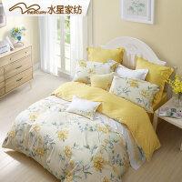 水星家纺斜纹印花三/四件套40s全棉花卉床上用品月婉花庭1.2米床