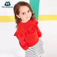 【尾品汇】迷你巴拉巴拉女幼童红色毛衫童装2018春装新款宝宝纯棉套头针织衫
