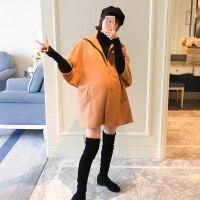 孕妇冬季外套女2019新款韩版加厚毛呢大衣潮妈宽松怀孕期保暖外套 巧克力色两件套
