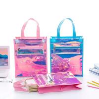 镭射透明拉链补课补习袋男女小学生用装书手提文件袋美术作业袋